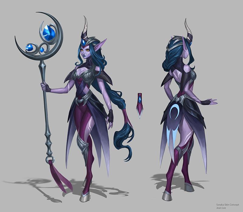 Midnight Soraka skin concept by JeanLeeArt