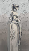 Day 15 - Greek Statue by katyillustrates