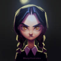 Day 50 - Wednesday Addams by katyillustrates
