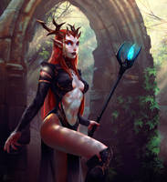 Horned priestess by I-GUYJIN-I