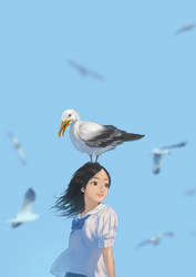 Cute girl with Seagulls by DigitalOme