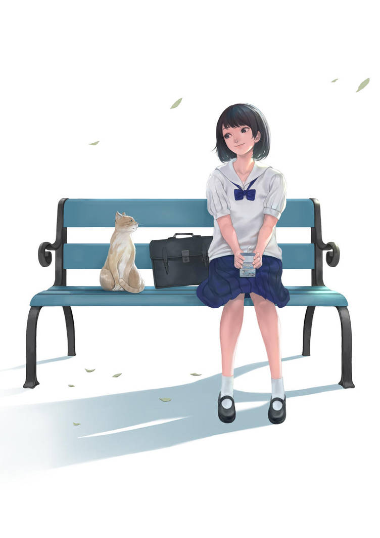 She and her cat by DigitalOme