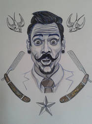 Moustache  - Ink on paper by doom-chris