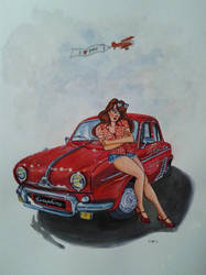 Dauphine and Pin up - Inks on paper by doom-chris