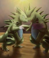 Fighting Tyranitars by PokeGirl5