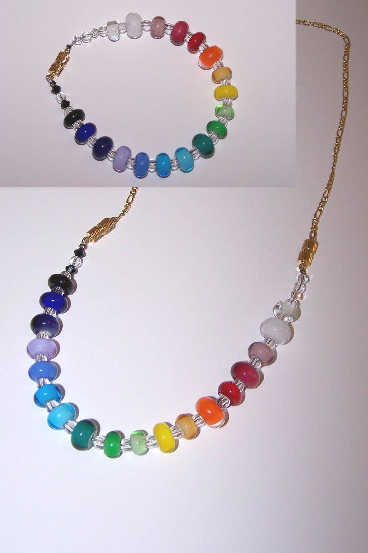 Rainbow bracelet-necklace by jo-the-phoenix