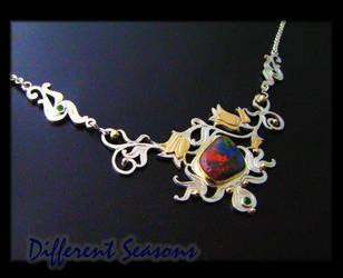 Gold Floral Opal Necklace by jessa1155
