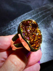Hand Carved 14k Gold Fire Agate Ring by jessa1155