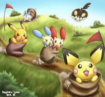 Pokemon Sack Race by sapphireluna