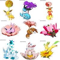 Eeveelution plus flowers by sapphireluna