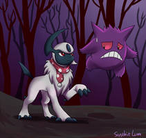Absol and Gengar in the woods by sapphireluna