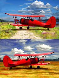 Red Biplane by fxEVo
