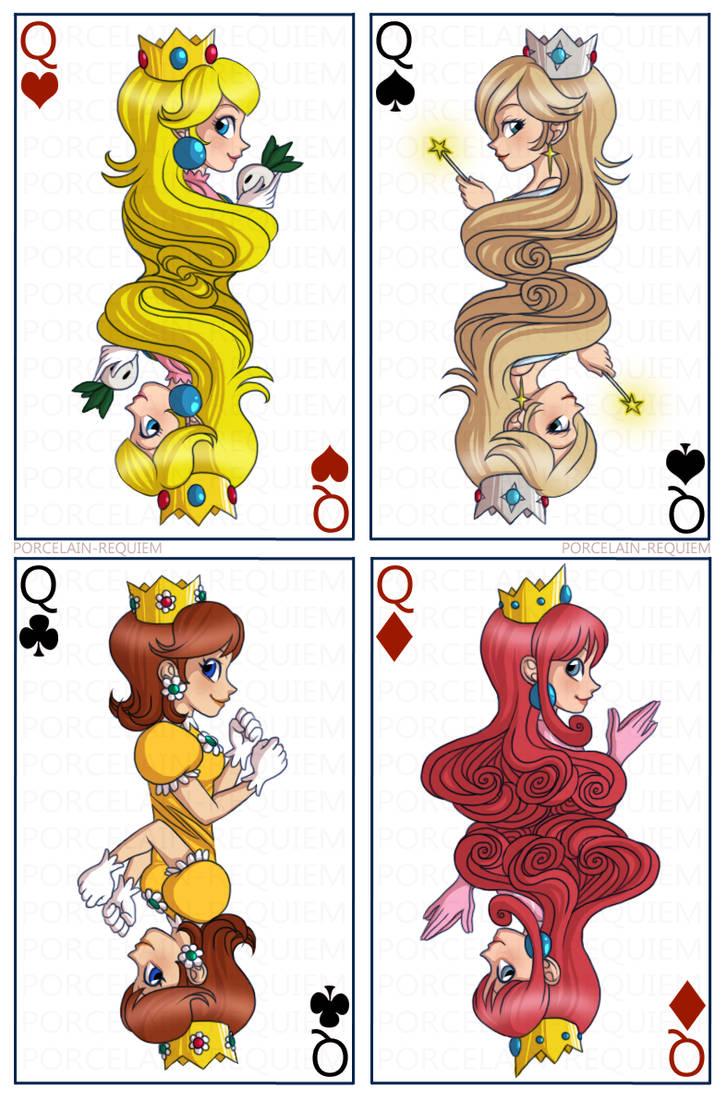 Mario Girls - Queen Cards by Porcelain-Requiem