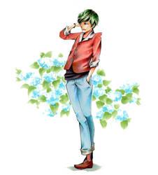 Man with Hydrangea by reya-desu