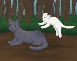 Bluefur and Whitekit by lunejaune145