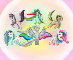 Mane 6 background ponies - rainbow power by lunejaune145