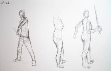 Sketches: sword poses by lunejaune145