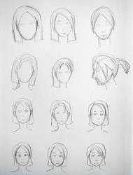 Sketches hairstyles by lunejaune145