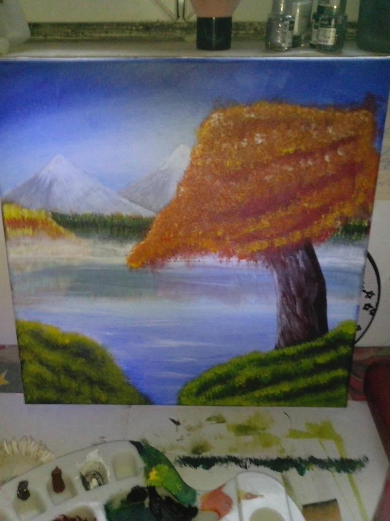 Autumn scenery Work in progress 2 by AkiDrawings