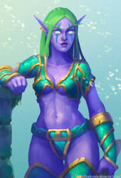 Night Elf:Warrior by lowly-owly