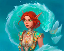 Commission: Blood Elf, Mage by lowly-owly
