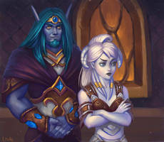 Nelf and Draenei by lowly-owly