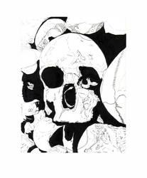 Illustration - Exterior Skull by WatermelonLove