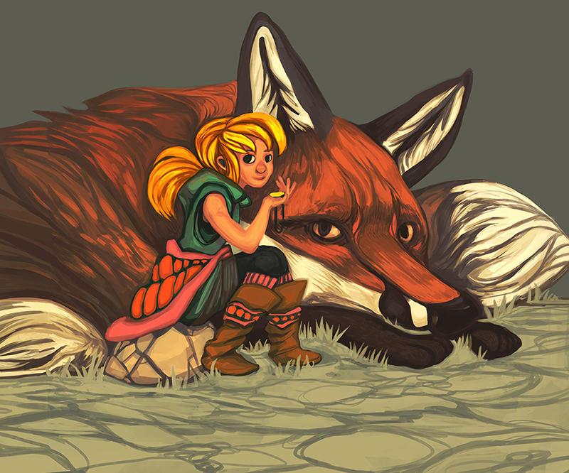 giant fox and girl by koi lantern on deviantart