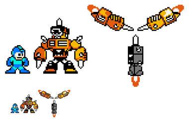 Impact Man and Impact Brothers 8-bit Sprite by MitochondriaShrine