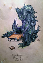 Shoggoth destroying a Datsun b210 by herrTevik