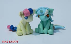 Herpy Lyra and Bon Bon: MLP Inspired Sculpture by MayEsdot