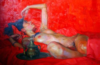 Odalisca en rojos. by rpintor