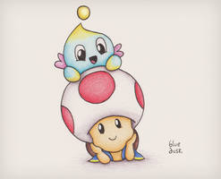 Toad and Chao Again by BlueDusk28