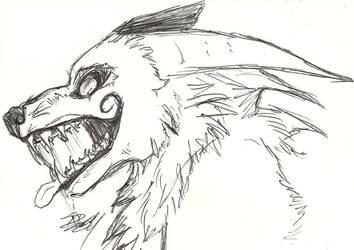 Despair Demon-wolf headshot by HawkfrostsAvenger