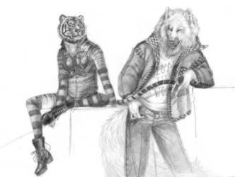 Wolf+tigress by AlessandrArt