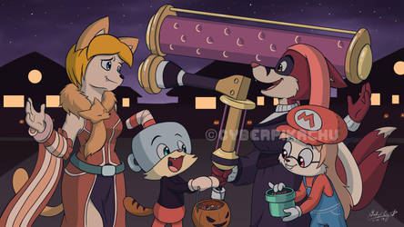 Cybie and Tykie - Game-Themed Trick or Treat by CyberPikachu