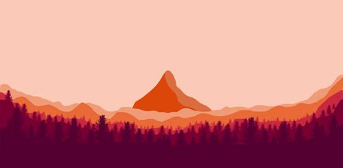 Firewatch flat landscape by orz23333