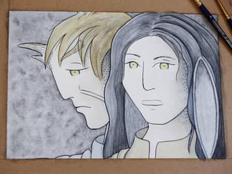 WIP: Elaishar and Halaina, Grisaille + Color by Hestia-Edwards