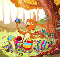 Easter Bunny is eating candies ^^ by kativonD