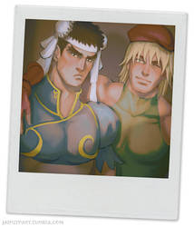 Ryu as Chun-li and Ken as Cammy by jaimito