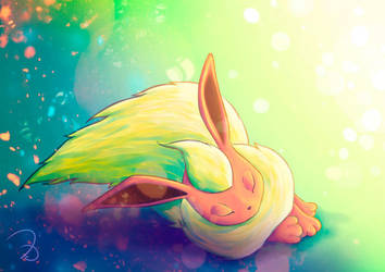 Sleeping Flareon by elyJHardy