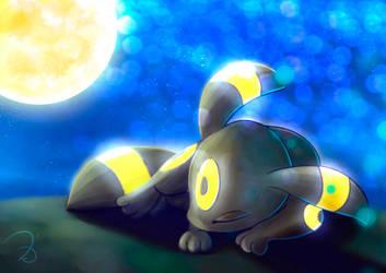 Sleeping Umbreon by elyJHardy