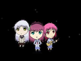 Angel Beats! Yuri, Angel, and Iwasawa by MushaMusha