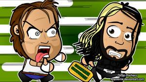 Dean Ambrose x Seth Rollins - WWE Chibi Wallpaper by kapaeme