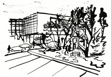 Sketch of my uni, entrance by szolka