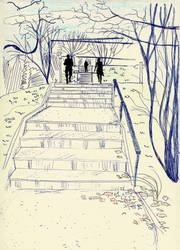 Sketch of my uni, stairs by szolka