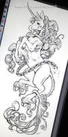 Unicorn tattoo design by KelleeArt