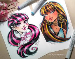 Cleo and Draculaura commissions by KelleeArt