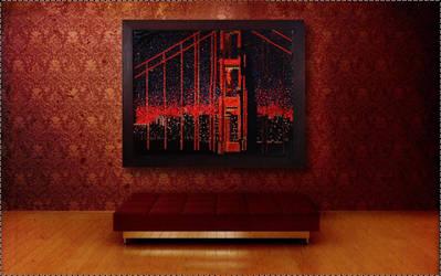 Golden Gate Light Brite On Wall by dogeatdog5
