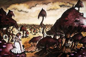 Field of Hellish Mushrooms by Aarans-Pencil